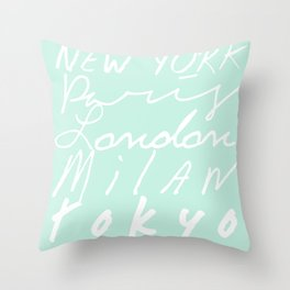 Fashion Capitals of the World - Mint Throw Pillow