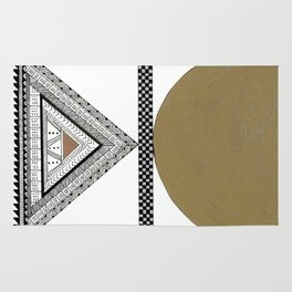 Geometric Shapes with Gold, Copper and Silver Rug