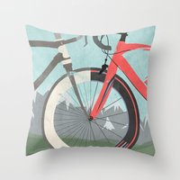 tour de france Throw Pillows featuring Tour De France Bicycle by Wyatt Design