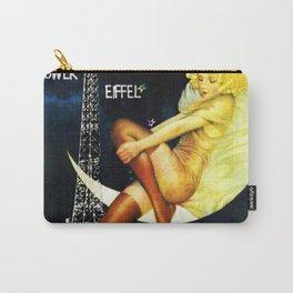 Vintage Paris La Nuit Ville Des Folies Eiffel Tower and Moon Advertising Poster Carry-All Pouch