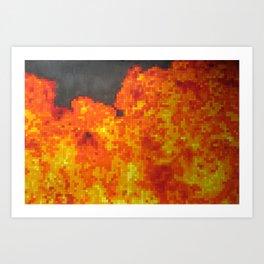 Fire on pixel (watercolor) Art Print