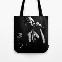 eddie vedder Tote Bags featuring Music Artist - Eddie Vedder by Sberla