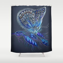 Love Lorn Butterfly-Blue & Navy Palette Shower Curtain