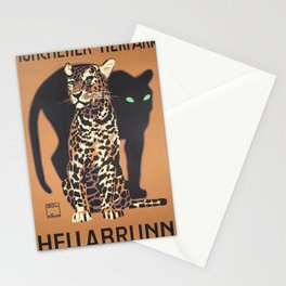 1912 Munich Zoo Green-Eyed Leopold Vintage Advertising Poster Stationery Cards
