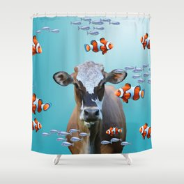 Costa Rica Cow - Clownfishes Collage underwater Shower Curtain