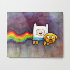 Nyan Time with Jake and Finn Metal Print
