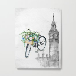 Black Vintage Bicycle in London Metal Print