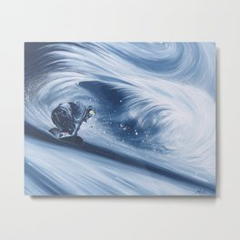 'Snowboarding Blue Blower' Metal Print