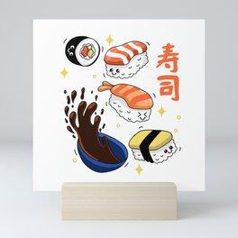kawaii Sushi Mini Art Print