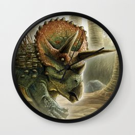 Triceratops Charge! Wall Clock