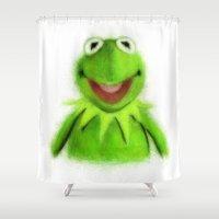 kermit Shower Curtains featuring Kermit by KitschyPopShop