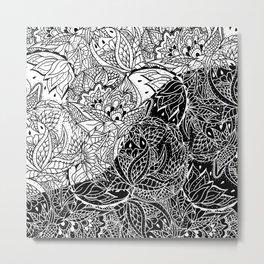 Modern black white color block inverted mandala floral hand drawn illustration Metal Print
