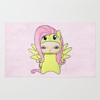 mlp Area & Throw Rugs featuring A Boy - Fluttershy by Christophe Chiozzi
