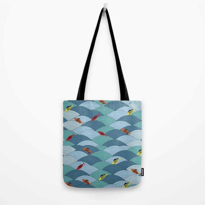 wave and fish Tote Bag