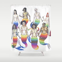 group of mermaids holding knives Shower Curtain