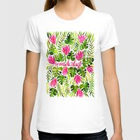 lime T-shirts featuring Tropical Wanderlust – Pink & Lime by Cat Coquillette