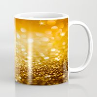 gold glitter Mugs featuring Gold Glitter Texture by Robin Curtiss