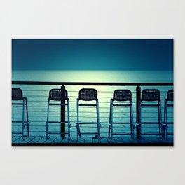 Blue Bar Stools Canvas Print