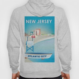 Atlantic City, New Jersey - Skyline Illustration by Loose Petals Hoody