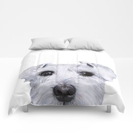 Schnauzer original Dog original painting print Comforters