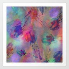 Electro Jellyfish Ball Art Print