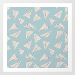 Paper Planes Pattern | White and Blue Art Print