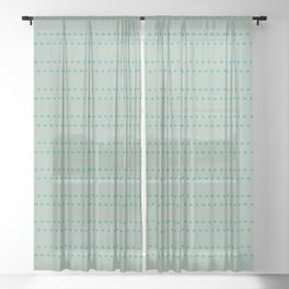 Zoe Painted Dot Stripe Pattern in Vintage Celadon Blue and Light Turquoise Teal Sheer Curtain