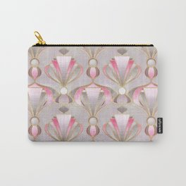 Rose Pink, Grey and Gold Art Deco Carry-All Pouch