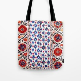 Kermina Nim Suzani  Antique Uzbekistan Rug Tote Bag