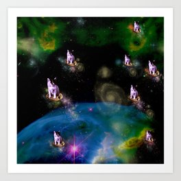 Cookie Cats in Space Art Print