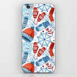 Christmas pattern with snowflakes and christmas stuff iPhone Skin