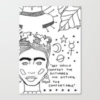 cactei Canvas Prints featuring Kahlo x Banksy by ☿ cactei ☿