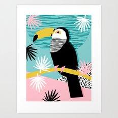 Loopy - wacka designs abstract bird toucan tropical memphis throwback retro neon 1980s style pop art Art Print