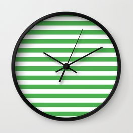Even Horizontal Stripes, Green and White, M Wall Clock