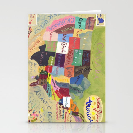 United States Map  Stationery Cards