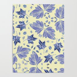 Autumn leaves in light yellow and blue Poster