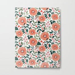 Berry Garden (White) Metal Print