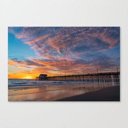 Painted Sky Over Newport Pier Canvas Print