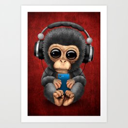 Baby Chimpanzee with Headphones Holding a Cell Phone on Red Art Print