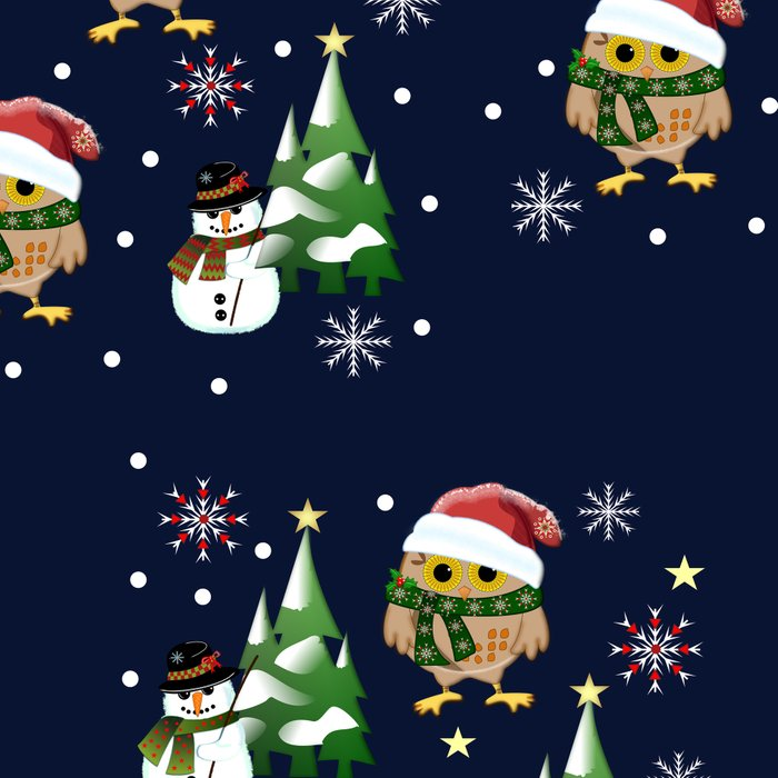 Cute Xmas pattern design with owls and snowmen Leggings