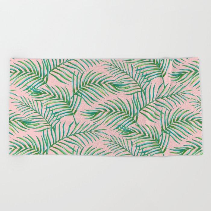 Palm Leaves_Bg Rose Quartz Beach Towel