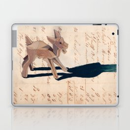 Vintage Wood Carved Goat in Gouache Laptop & iPad Skin