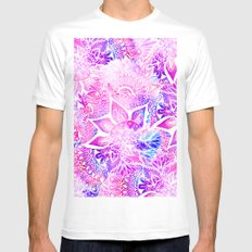 Purple blue henna boho floral mandala pattern MEDIUM White Mens Fitted Tee