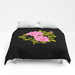 Painted Pink Roses Comforters