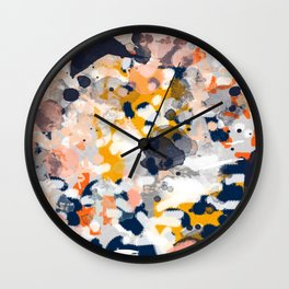 Stella - Abstract painting in modern fresh colors navy, orange, pink, cream, white, and gold Wall Clock