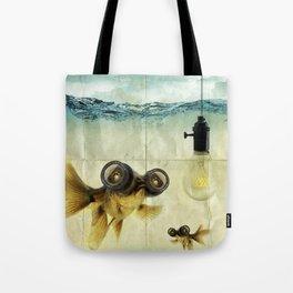 Fisheye Lens Goldfish Tote Bag