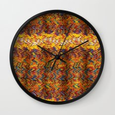 Multicolored wavy lines background Wall Clock
