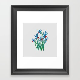 Hand painted watercolor floral blue and red flowers Framed Art Print