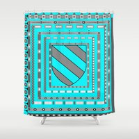 medieval Shower Curtains featuring Medieval Shield by Trippin Up