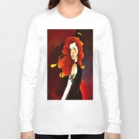 the mortal instruments Long Sleeve T-shirts featuring Clary Fray from The Mortal Instruments by Cassandra Clare by Amitra Art